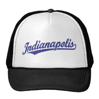 Indianapolis script logo in blue distressed cap