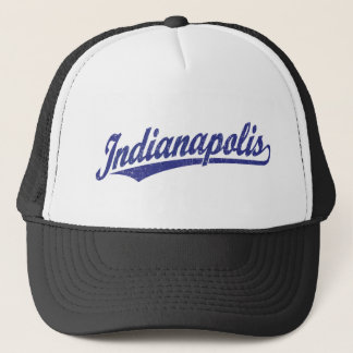 Indianapolis script logo in blue distressed trucker hat