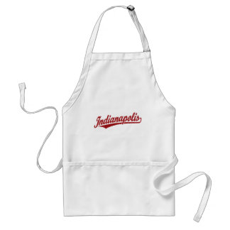 Indianapolis script logo in red distressed aprons