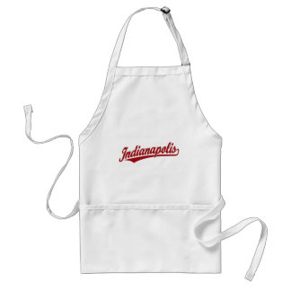 Indianapolis script logo in red standard apron