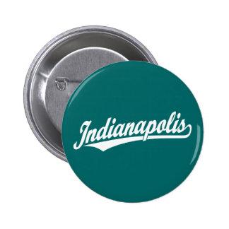 Indianapolis script logo in white 6 cm round badge