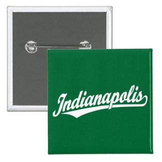 Indianapolis script logo in white 15 cm square badge