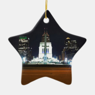 Indianapolis Skyline at Night Christmas Ornament