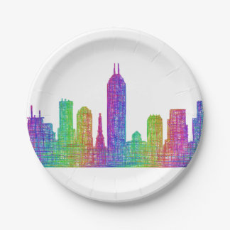 Indianapolis skyline paper plate