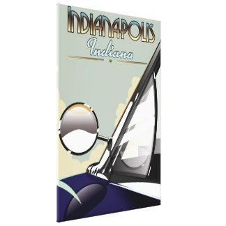 Indianapolis vintage car travel poster canvas print