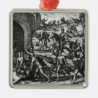 Indians bringing Balboa vases and gold objects Silver-Colored Square Decoration
