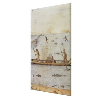 Indians Fishing Canvas Print