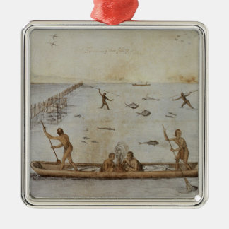 Indians Fishing Christmas Ornament