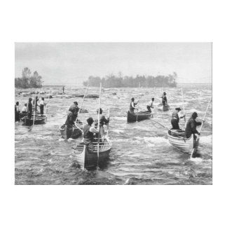 Indians Fishing in the Soo Canal Photograph Stretched Canvas Prints