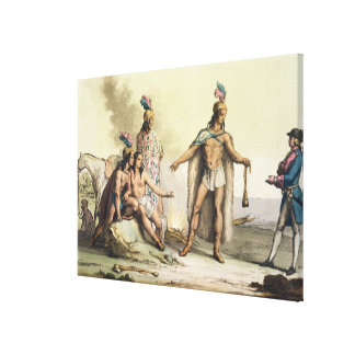 Indians of Patagonia, Chile, greeting a European t Canvas Print