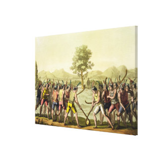 Indians playing Ciueca, Chile, from 'Le Costume An Canvas Print