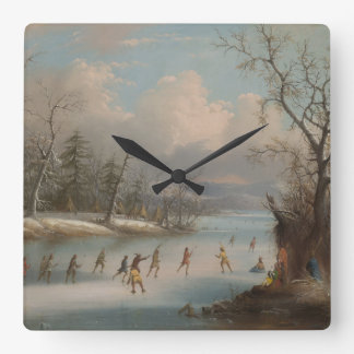 Indians Playing Lacrosse on the Ice Square Wall Clock