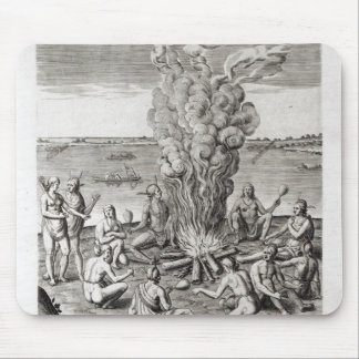 Indians praying around a fire, engraving mouse mat