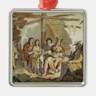 Indians trading with La Perouse in Canada (colour Christmas Ornament