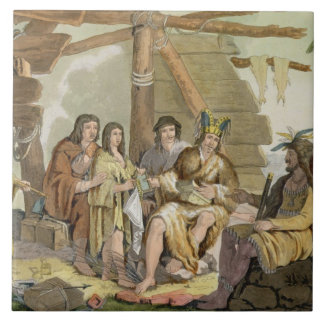 Indians trading with La Perouse in Canada (colour Large Square Tile