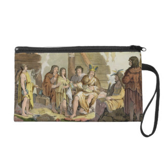 Indians trading with La Perouse in Canada (colour Wristlet
