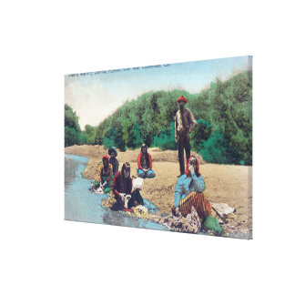 Indians Washing Clothes in the Russian River Canvas Print