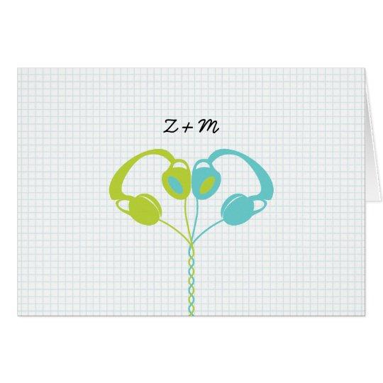 Indie Headphone Heart Blue / Lime Green Wedding Card