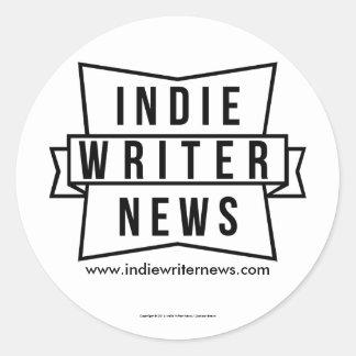 Indie Writer News Round Stickers