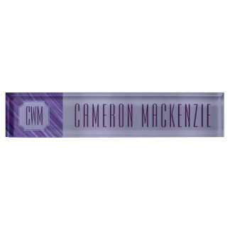 Indifferent Office | Monogram Purple Lilac Plum | Name Plate