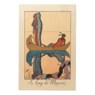 indigenous couple in a canoe wood print
