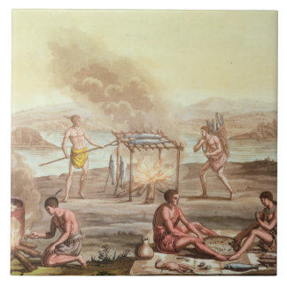 Indigenous natives from Florida preparing and cook Large Square Tile