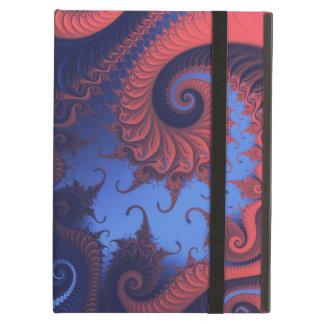 Indigo and coral fractal iPad air cover