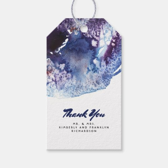 Indigo Blue and Purple Crystal Modern Watercolor Gift