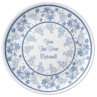 Indigo Blue and White Floral Border to Customize Plate