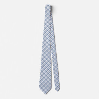 Indigo Blue and White Preppy Check Unisex Necktie