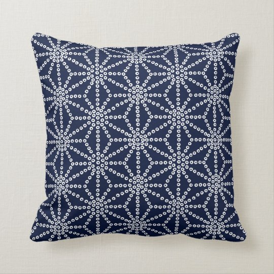 Indigo Blue Asanoha Pattern Throw Pillow