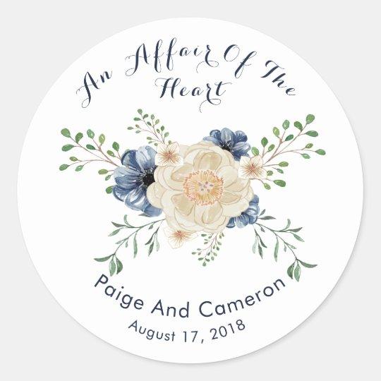 Indigo Blue & Beige Garden Floral Wedding Classic