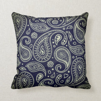 Indigo Blue Black Boho Paisley | Throw Pillow