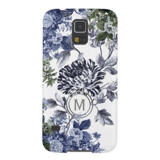 Indigo Blue Black & White Floral Garden Monogram Cases For Galaxy S5