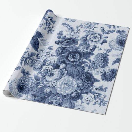 Indigo Blue Black White Vintage Floral Toile No.3