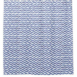 Indigo Blue Chevron Pattern | Shower Curtain