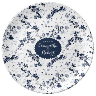 Indigo Blue Clematis Floral cheramic plate