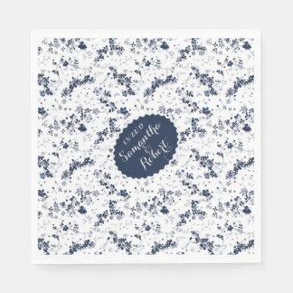 Indigo Blue Clematis Floral Pattern Disposable Napkin