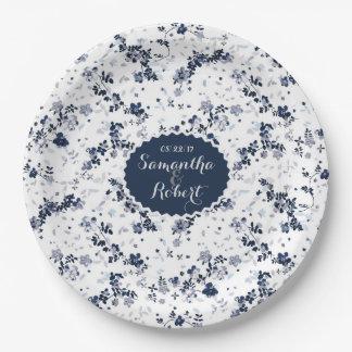 Indigo Blue Clematis Floral Pattern plate