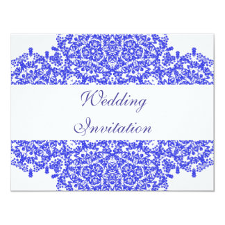 Indigo Blue Delicate Vintage Floral Lacy Patterned 11 Cm X 14 Cm Invitation Card