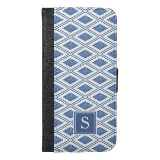 Indigo Blue Diamond Pattern Monogram iPhone 6/6s Plus Wallet Case