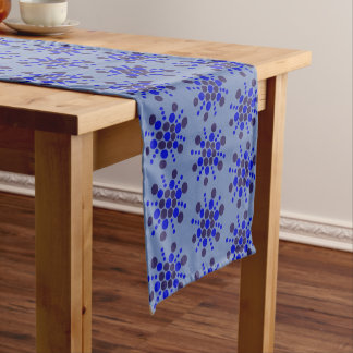 Indigo blue dotted stars on jeans blue short table runner