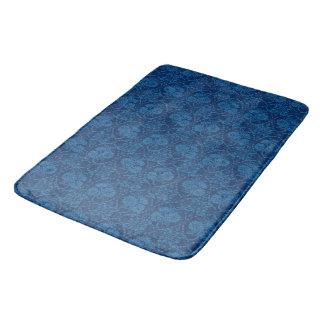 Indigo Blue Floral Faux Lace Pattern Bath Mats