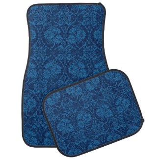 Indigo Blue Floral Faux Lace Pattern Floor Mat
