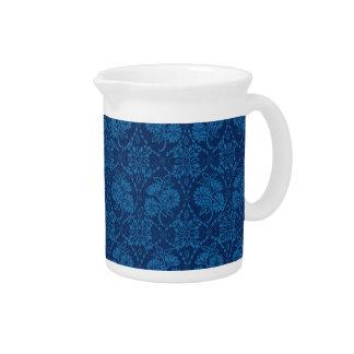 Indigo Blue Floral Faux Lace Pattern Pitcher