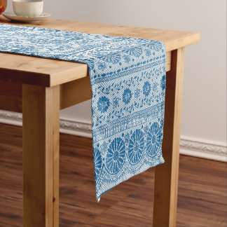 Indigo Blue Floral Faux Lace Pattern to Customize Short Table Runner