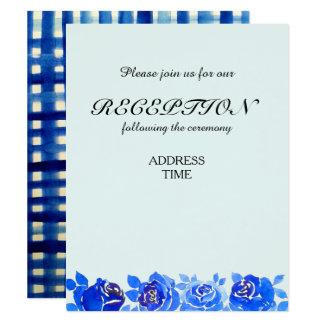 Indigo Blue Floral Reception Invitation Card