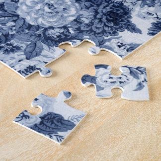 Indigo Blue Floral Toile No.3 Jigsaw Puzzle
