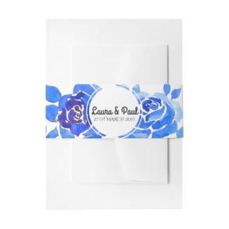 Indigo Blue Floral Wedding Invitation Belly Band