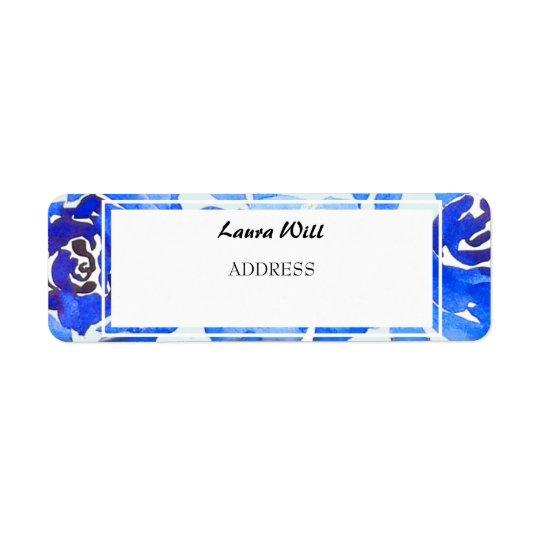 Indigo Blue Floral Wedding Return Address Labels